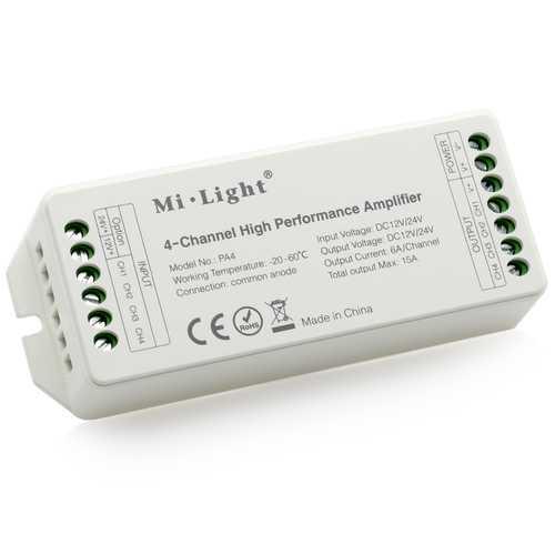 Mi Light DC12V-24V PA4 4-Channels RGB RGBW LED Amplifier Controller for LED Strips
