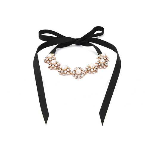 Pearl Rhinestone Flower Pendant Black Lace Long Necklace Elegant for Women Clothing Accessories