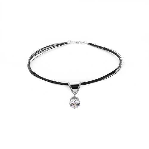 Punk Shiny Rhinestone Multilayer Black Choker Necklace Fashion Women Jewelry Clothing Accessories
