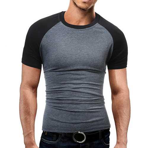 Men's Casual Raglan Sleeve T-Shirt Fashion Hit Spell Color Short Sleeve Tops Tees