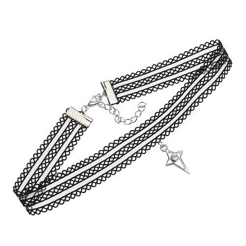 Punk Lolita Lace Rhinestone Star Pendant Choker Fashion Women Necklace Clothing Accessories Gift