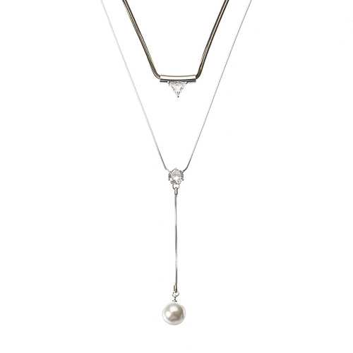 Fashion Artificial Pearl Shiny Rhinestone Triangle Pendant Double Layer Necklace Jewelry for Women