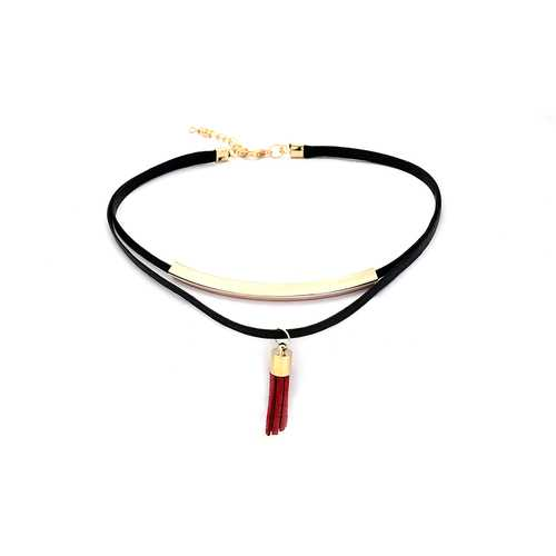 Punk Necklace Red Tassel Pendant Flannel Choker Fashion Clothing Accessories for Women