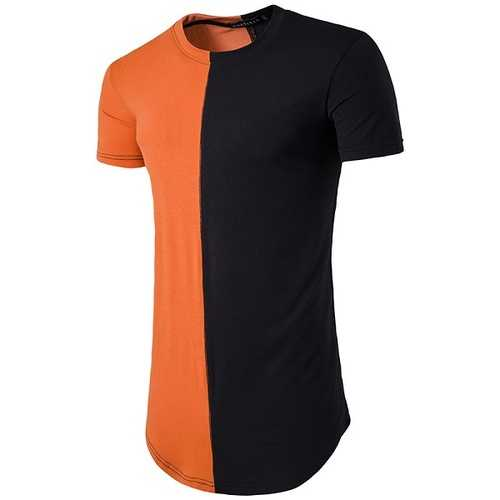 Summer Spring Contrast Color Cotton T-shirts Men's O-neck Slim-fitting Short Sleeve Long Tops
