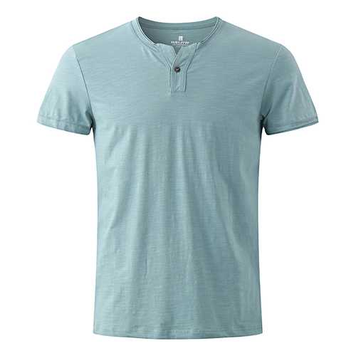 Summer Men's Casual V-Neck T-shirts Breathable Soft Pure Colors Cotton Tops Tees