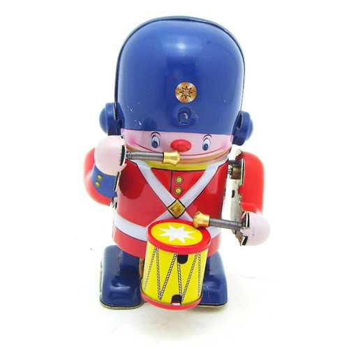 Classic Vintage Clockwork Wind Up Drummer Marching Band Robot Children Kids Tin Toys With Key