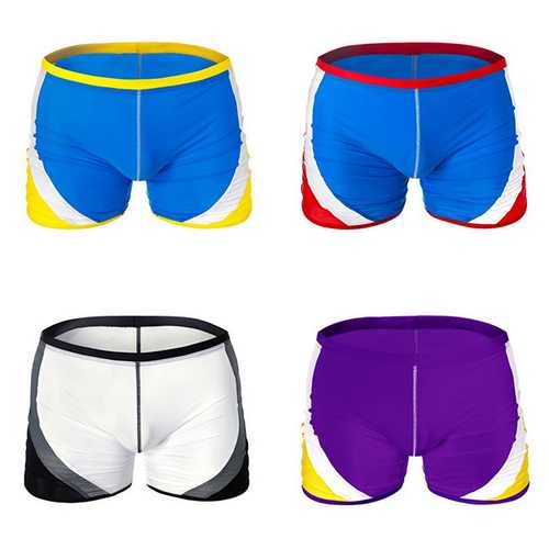 AUSTINBEM Mens Contrast Color Swimming Beach Shorts Casual Spa Surf Mid-waist Trunks