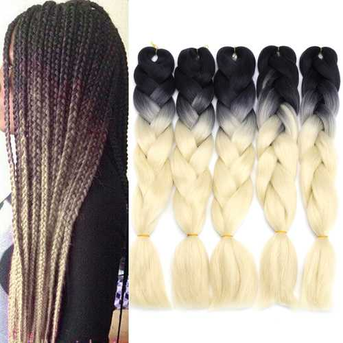 """5Pcs 24"""" Ombre Dip Dye Kanekalon Jumbo Braid Pigtail Hair Extensions Ponytails Synthetic Wigs"""