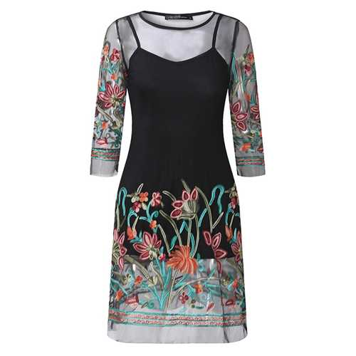 Black Women Floral Embroidered 3/4 Sleeve See-Through Mesh Mini Dresses