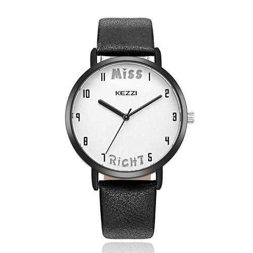 KEZZI 1688 Leather Strap Women Quartz Watch Fashionable Pattern Mr. Right Wrist Watch