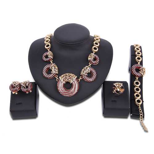 Luxury Red Circle Rhinestone Necklace Earrings Ring Bracelet Jewelry Set