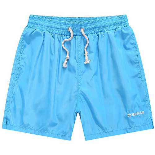 Plus Size S-3XL Summer Quick Drying Beach Shorts Mens Breathable Casual Solid Color Shorts