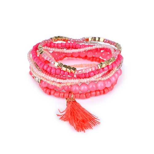 Clothing Accessories Bohemian Multilayer Tassel Pendant Colorful Bead Bracelet Jewelry for Women