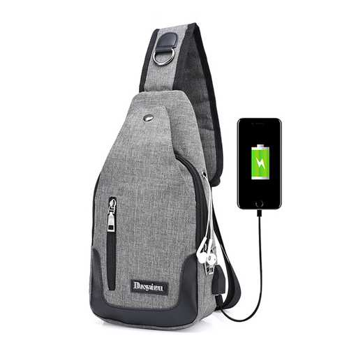Men Women USB Port Casual Outdoor Chest Bag Crossbody Bag