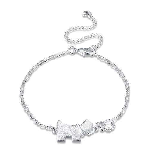 Dog Tag Shaped Foot Chain Silver Plated Rhinestone Anklet Jewelry