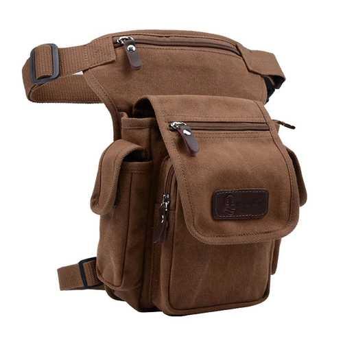 Men Canvas Waist Bag Outdoor Belt Fanny Pack Motorcycle Tactical Drop Leg Bag