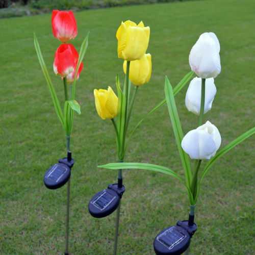 2V Solar Power Mult Tulip Flower Garden Stake Landscape Lamp Outdoor Yard LED Light for Home