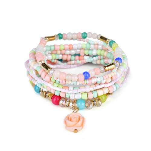 Bohemian Multilayer Sweet Rose Flower Pendant Bead Bracelet Women Clothing Accessories