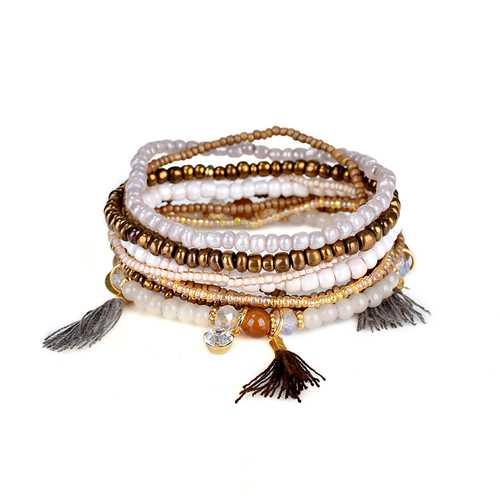 Bohemian Multilayer Tassel Charm Gold Color Coin Pendant Beads Bracelet for Women