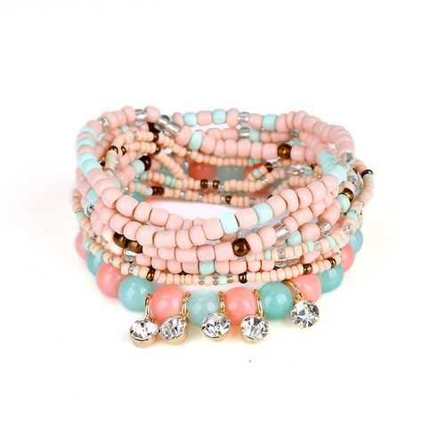 Bohemian Charming Bracelet Beads Rhinestone Multilayer Bracelets for Women