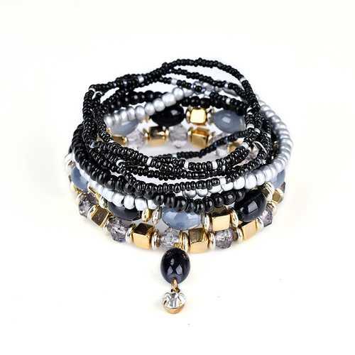 Women's Bohemian Bracelet Colorful Multilayer Beads Charming Bracelet