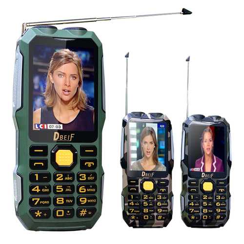 DBEIF D2016 2.8 inch 3000mAh Magical Voice Military Antenna Analog TV Dual Flashlight feature Phone