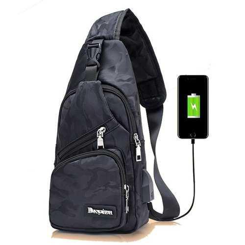 Men Crossbody Shoulder Bag Chest Bag Travel Hiking Daypack with USB charging Port