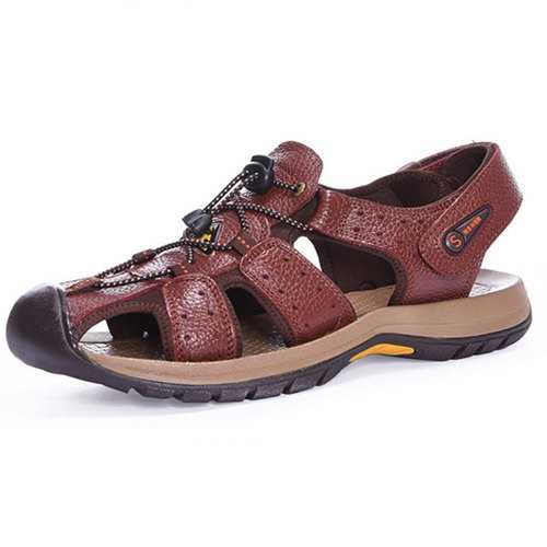 Genuine Leather Beach Sandals Outdoor Round Toe Flat Shoes