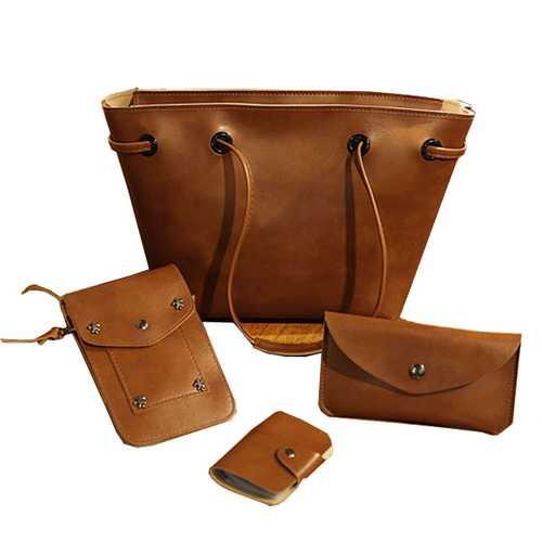 4PCS PU Leather Stylish Handbag Phone Bag Wallet Card Holder