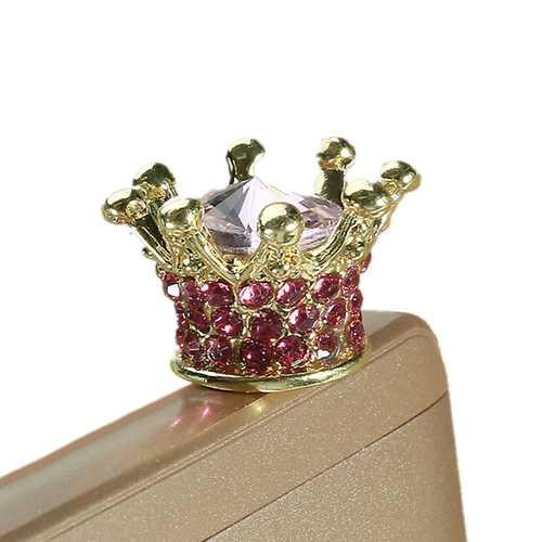 Universal 3.5mm Rhinestone Crown Dirtproof Plug Phone Decoration