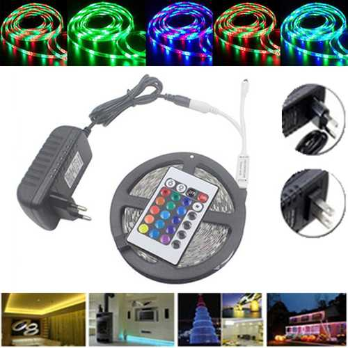 5M Waterproof 3528 RGB 300 LEDs  Flexible Strip Light 24 Keys IR Remote + Power Adapter DC12V