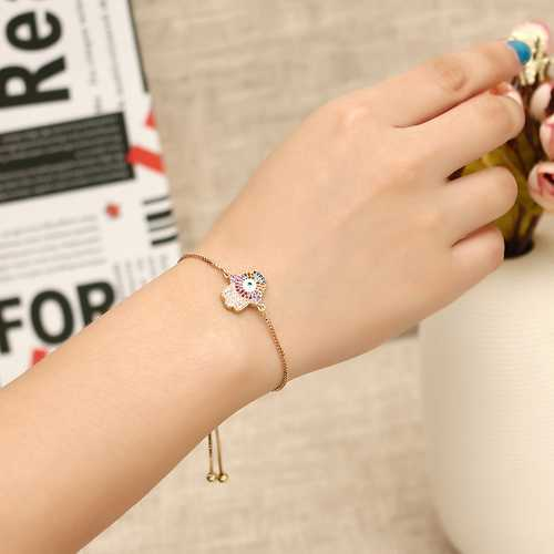 Trendy Colorful Zircon Adjustable Charm Bracelet For Women