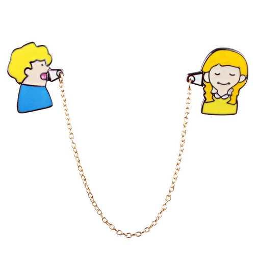 Sweet Couple Calling Metal Brooch Cute Kid Jewelry