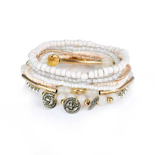 Retro Triple Coins Pendant Bohemian Multilayer Beads Bracelet Best Gift Jewelry for Women