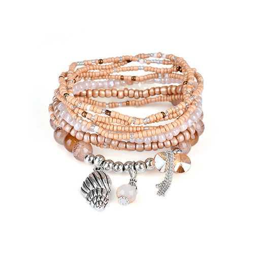 Bohemian Multilayer Conch Crystal Tassel Pendant Bead Bracelet Jewelry for Women Best Gift