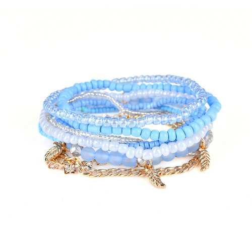 Bohemian Bracelet Leaves Chain Multilayer Beads Bracelets for Women