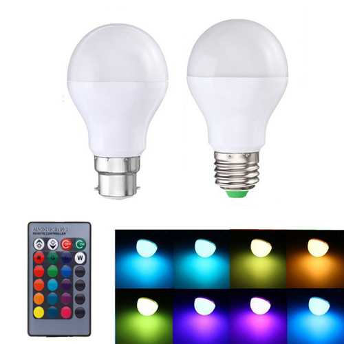 5W E27 B22 RGB 16 Colors LED Light Lamp Bulb Synchronized Function + Remote Control AC85-265V