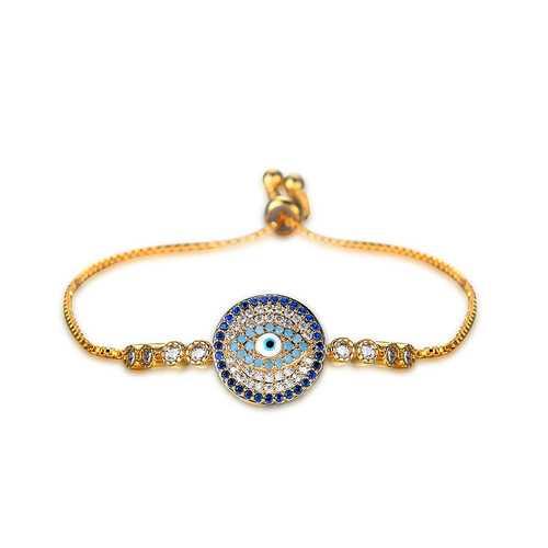 Unisex Jewelry Unique Blue Evil Eye Zircon Adjustable Charm Bracelet