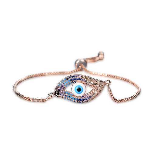 Trendy New Evil Eye Shape Adjustable Metal Zircon Bracelet Unisex Jewelry