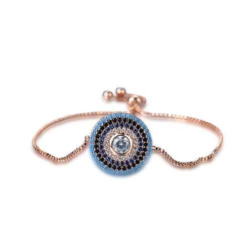 Simple Style Round Colorful Zircon Inlaid Adjustable Bracelet Unisex Jewelry
