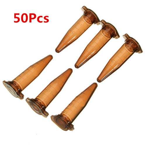 50Pcs 1.5mL Conical Bottom Centrifuge Tube Graduated Brown Polypropylene EP Tube