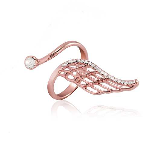 Trendy Finger Ring Rose Gold Plated Angel Wing Inlay Zircon Women Jewelry Anallergic
