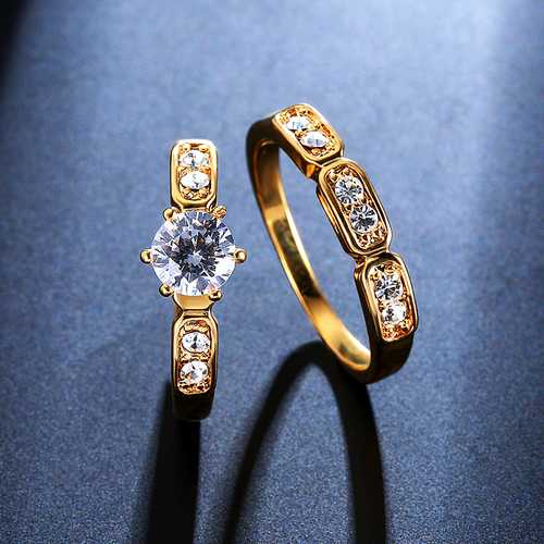 2PCS Trendy Zircon Ring Set Gold Plated Fine Copper Eco Friendly Anallergic Accessories