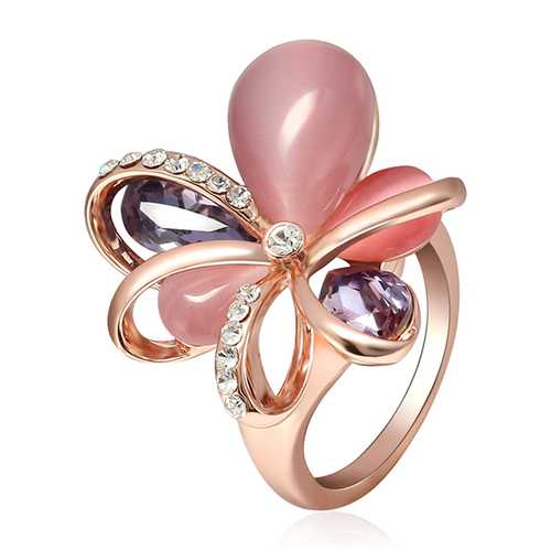Stylish Pink Flower Opal Crystal Zircon Finger Ring Fine Jewelry for Women Clothing Accessories