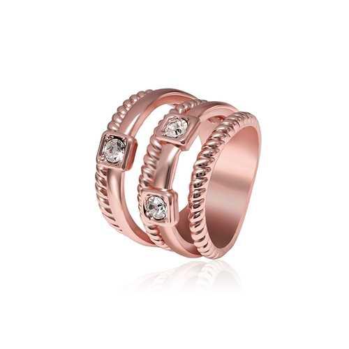 Multilayer Stylish Wide Ring Rhinestone Twist Line Rose Gold Elegant Women Jewelry