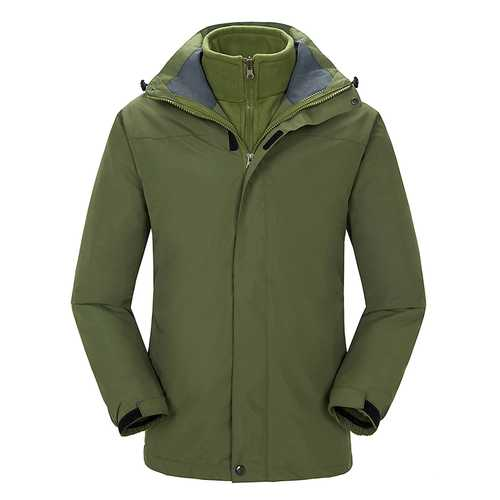 Men Camping Hiking Waterproof Windproof Triple Soft Shell Warm Liner Coats Jacket