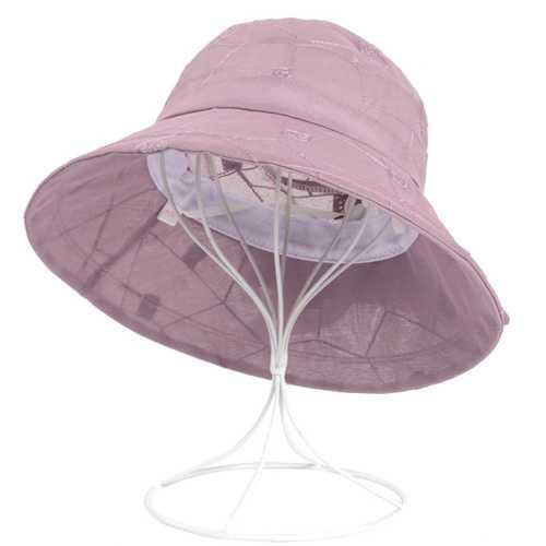 Women Summer Chiffon Flower Bow Bucket Hat Casual Sunscreen Visor Beach Hat