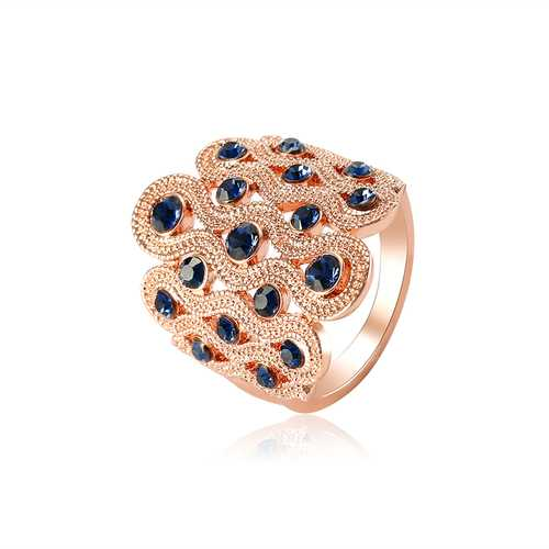 Sapphire Zircon Gold Enagement Ring Wide Wave Luxury Elegant Gift Accessories