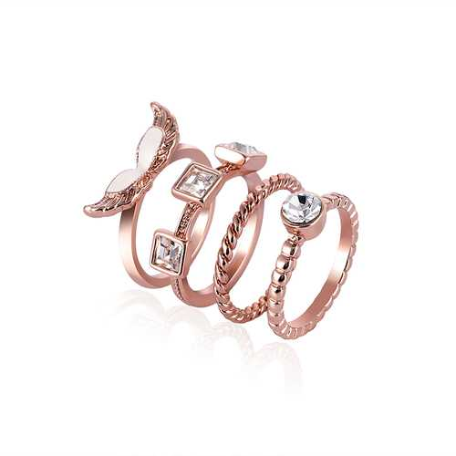 4pcs Rose Gold Zircon Ring Set Twist Line Enamel Wings Fashion Accessories Jewelry Wholesale