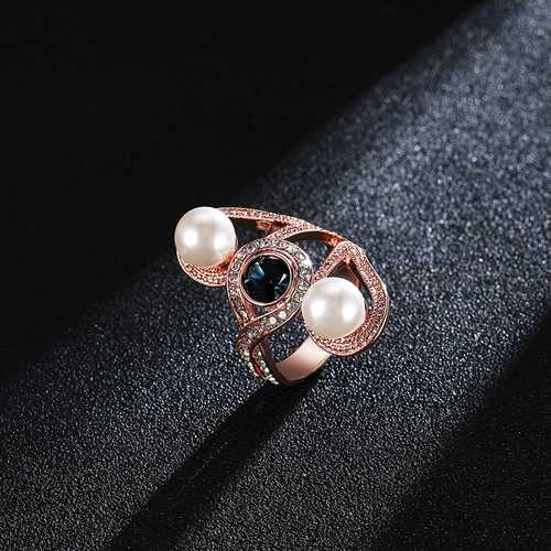 Fashion Pearl Sapphire Zircon Rose Gold Women Ring Engagement Accessories
